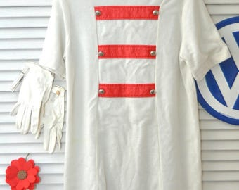 70s 60s Girls Vintage Costume Dress & Gloves Majorette/Marching Band Uniform White w/red trim Costume size 10-12 M Distressed as is dress up