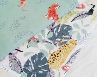 Burp Cloth Set, in the jungle + tigers, baby shower gift, baby essentials, tiger burp cloth, jungle burp cloth, gender neutral