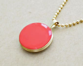 Small Round Gold Filled Locket Necklace - Personalized Photo Necklace