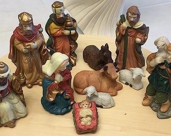 Vintage Ceramic 11 Piece Nativity Scene 1990s NEW IN BOX!