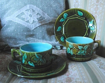 Antique French MAJOLICA Barbotine cups & saucers BAMBOO Green Turquoise