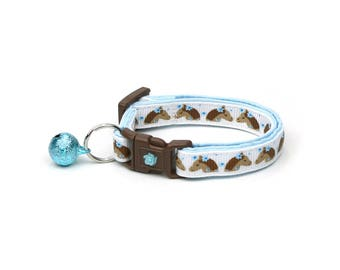 Horse Cat Collar -Brown Horses & Blue Flowers - Kitten or Large Size - Breakaway Cat Collar