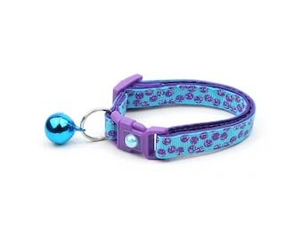 Polka Dot Cat Collar - Purple Dots on Blue - Breakaway Cat Collar - Kitten or Large size