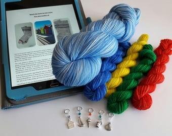 Beach Hut Socks kit - yarn, pattern, stitch markers