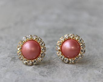 Coral Earrings, Coral Pearl Earrings, Coral Bridesmaid Jewelry, Gold and Coral Jewelry, Coral Earings, Wedding Jewelry, Bridesmaid Gifts