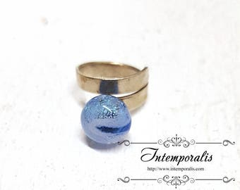 Blue iridescent lampwork bead changeable and adjustable ring, OOAK, SABAVI10