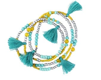 Multi Tassel Necklace Bohemian Style with Glass and Seed Beads Can Be Looped To Create A Multi Layer Necklace