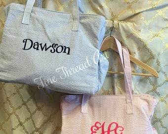 Seersucker Diaper Bag in Pink or Blue Boy or Girl with Monogram or Name