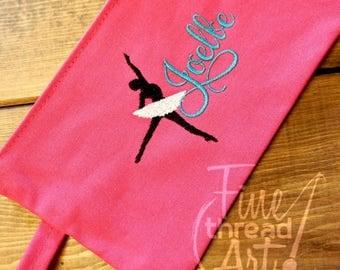 Solid Canvas Monogram Zipper Bag Dancing Design Pencil Bag Back to School Clutch Toiletry Make Up Bag Travel Recital Ballet Dance