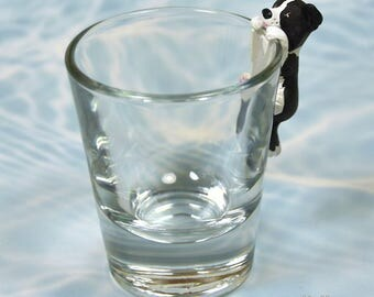 Hand Sculpted Border Collie 1.5 oz Shotglass