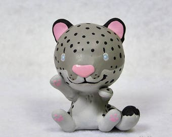 Hand Sculpted Snow Leopard Derp Figurine