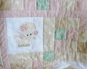 Little Lambs Bunnies & Flowers Baby Quilt Applique, soft and cuddly flannel and cotton blanket