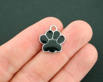 5 Dog Paw Charms Silver Plated and Black Enamel So Cute - E056 NEW1