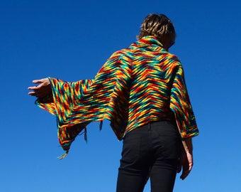 Crochet Poncho Rainbow Cape 100% Wool
