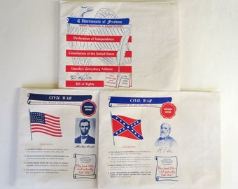 Historical Reproductions Declaration Independence, Constitution, Gettysburg Address, Bill of Rights, Civil War Maps & Posters, Vintage 50s