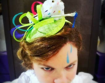 Painting Bunny Novelty Fashion Hat:  Quirky Vintage Artist Rabbit Fascinator