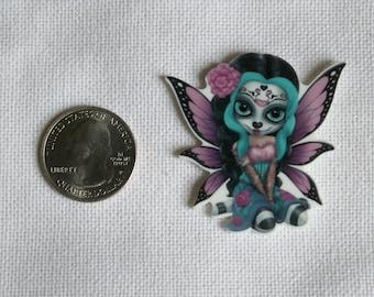 Acrylic Sugar Skull Fairy Bow Center Magnet Badge Reel Accessories Dia de los Muertos