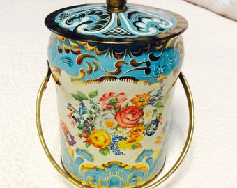Vintage Blue Murray Allen Toffee Tin Box England Floral Pink Handle and Knob Gold