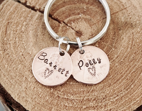 2 Penny Key Chain Hand Stamped Charm Custom Name Anniversary 7 Year Gift 1950 to 2018 Pennies
