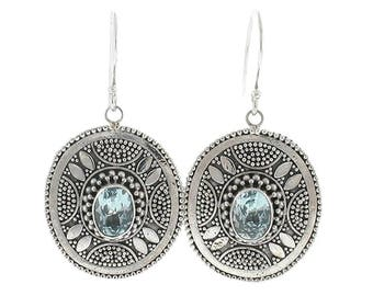Blue Topaz Sterling Silver Earrings Balinese Bali Jewelry