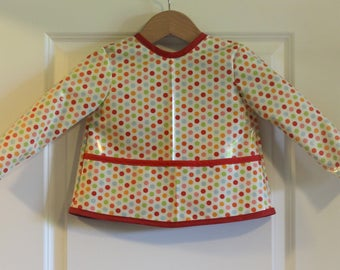 Long Sleeve Toddler Baby Bib Kids Art Smock in Cream with Multi Colored Dots