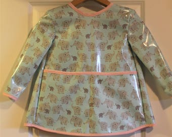 Extra Long Girls Long Sleeved Art Smock with Light Blue with Elephants