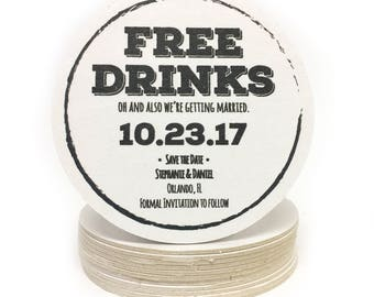 Heavyweight FREE DRINKS Personalized Paper Coasters - Perfect for Save the Dates, Weddings Invites, Engagement Party, Shower