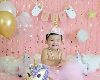 Unicorn First Birthday - Unicorn High Chair Banner - Unicorn Banner - Unicorn Party Decor - Pink and Gold First Birthday - Unicorn Theme