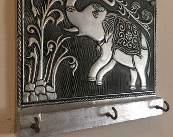 Beautiful Handmade Metal-Embossed Indian Elephant Key Holder