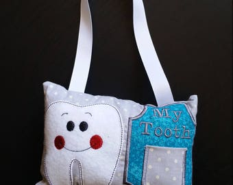 Tooth Fairy Pillow - Teal - Boy Gift - Girl Gift - Tooth Fairy Pocket Pillow - First Tooth