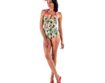 Miami Vice Underwire One Piece Swimsuit, Retro Swimwear, PinUp Swimsuit, Plus Size Swim Skirt, XS-XXL