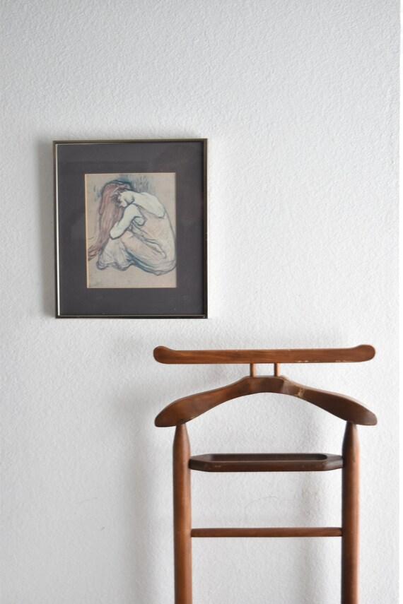 vintage framed modern moody sad girl portrait print