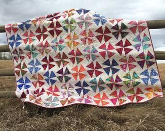 Vibrant flowers full size quilt