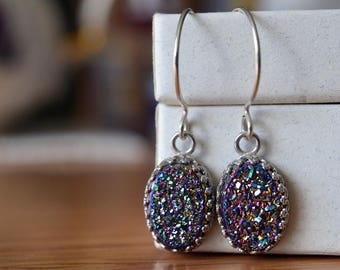 Druzy Agate Earrings, Genuine Druzy Jewelry, Handmade Rainbow Gemstone Dangles, Dangly Sterling Silver Earrings, Anniversary Gift