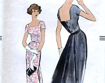 Vogue 9341 Vintage 50s Sewing Pattern for Misses' Dress - Size 12 - Bust 32