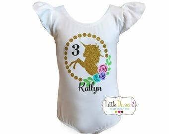 Unicorn Floral - (Child) Flutter Sleeve- Leotard.. Personalized with name and age