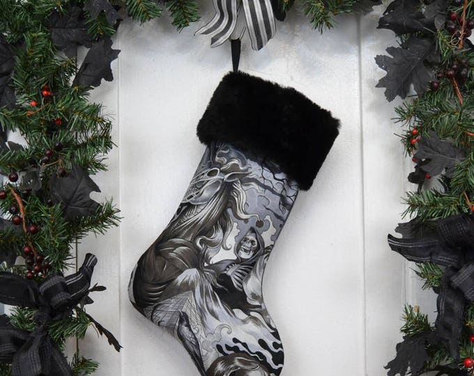 Grim Reaper Halloween Christmas Stocking, Goth Punk, Horror Fan, Black and White, Black Faux Fur, Halloween Decoration, Heart of Darkness