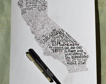 California Wall Art - California County  map - California wall art - California Music map - free hand line map - home decor -