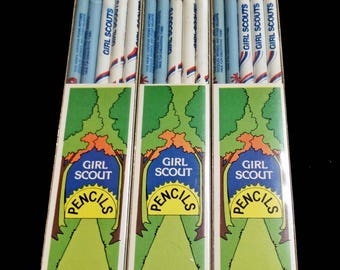 Vintage Girl Scout Pencils NOS 3 packages 15 pencil lot new