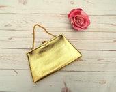 Gold 50s Clutch - 50s Gold Bag - Vintage Clutch - 50s Vintage Clutch - Small Vintage Bag - 50s Coin Purse