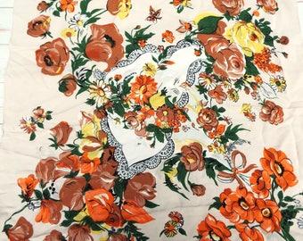 Vintage Crepe Scarf - Floral Vintage Scarf - 50s Vintage Scarf - Vintage Novelty Scarf - Rose Scarf - 1950s Scarf - Vintage Scarves