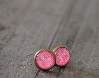 Clous d'oreilles - Studs earrings - Magenta - Rose - Tissu - Coco Matcha