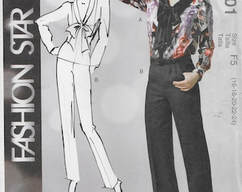McCall's 6601 Misses Loose-Fitting Blouse and Tapered Pants Sewing Pattern Size 16 to 24 Bust 36 to 46