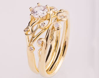 Celtic Bridal Set, Knot Engagement Ring, Diamond engagement ring, Celtic ring, engagement ring, twig engagement ring, twisted ring, eng17