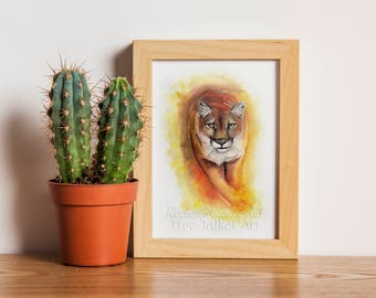 Cougar Mountain Lion Painting - Watercolor Mountain Lion Art by  Rachael Caringella