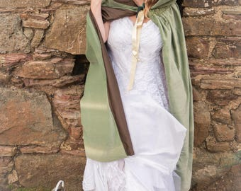 Green velvet hooded cloak / cape. Perfect for a wedding, handfasting, quality cotton velvet with large hood. re-enactment, LOTR, medieval