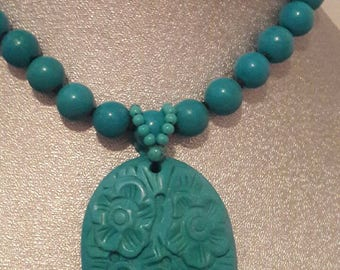 STUNNING GENUINE TURQUOISE Pendant Necklace 18 inches