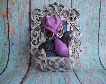 Betunya Bat in a Frame, Mini frame,wall decor,haunt your house,polymer clay sculpture,original art