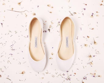 White Bridal Ballet Flats | Bridesmaids Flats | Flat Shoes for Brides | Classic White
