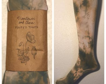 New, unworn hand dyed footed tights in dusty rose and grey
